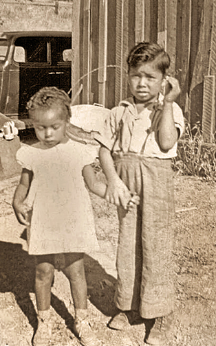Carol Hall, who is now a Tribal Elder, was born on the Rancheria. She is pictured here with her brother Darrell. Carol's grandfather was from Waukaudok and danced with 'Chief' Kelly and the other old timers of the Rancheria.